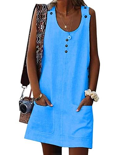 Onsoyours Damen Leinenkleid ärmellos Sommerkleid Rundhalsausschnitt Freizeitkleid Strandkleider Einfarbig Boho Tank Kleider Mit Button Und Taschen Z Blau DE 44 Floral Sommer Tank Kleid