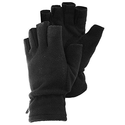 Floso® Herren Winter Fleece Handschuhe, Fingerlos (Einheitsgröße) (Schwarz) - Handschuhe Weiße, Und Schwarze Fingerlose