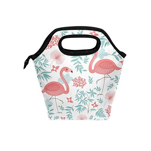 jstel Pink Flamingo Leaf Blume LUNCH BAG HANDTASCHE Lunchbox Frischhaltedose Gourmet Bento Coole Tote Cooler Warm Tasche für Reisen Picknick Schule Büro