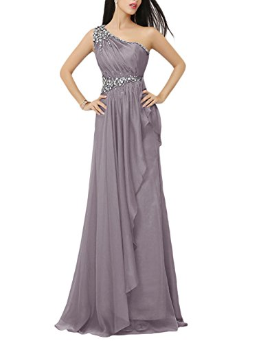 Find Dress Robe de Bal Longue Princesse Epaule Asymétrique Robe de Cérémonie Femme pour Mariage Style Elégant Anniversaire Gala Gown Taille Personnaliser en Mousseline avec Appliques Gris