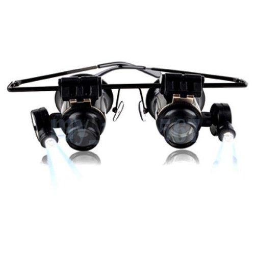 NuoYa005 Neue 20 x Objektiv Schmuck Lupe Brillen Lupe mit LED Licht zur Reparatur von Uhren Led-licht-brille