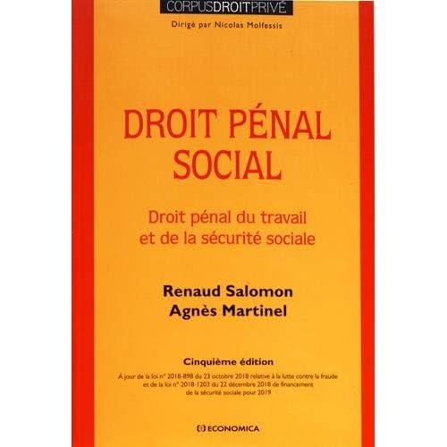 Droit pénal social : Droit pénal du travail et de la securité sociale