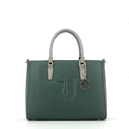 Trussardi Jeans Ischia, Borsa Tote Donna, 18 x 42 x 46 cm (W x H x L) Verde (Green/Gunmetal)