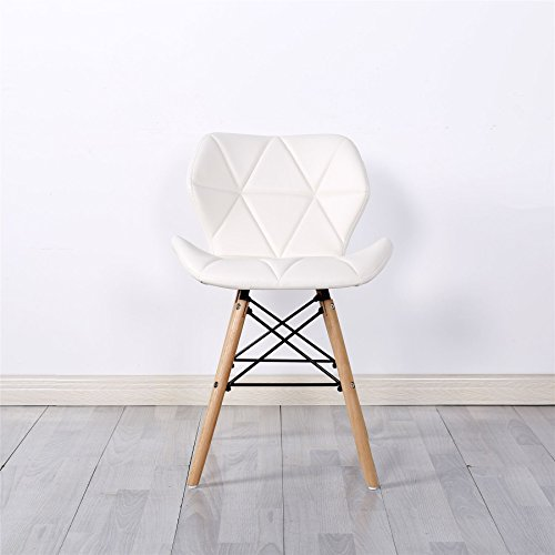Simpa® Eiffel Inspired White Millmead Style Dining Chair Natural Solid Wood Legs with Cushioned Pad Contemporary Designer for Office Lounge Dining Kitchen - White x 1