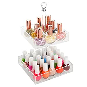 Rotating Clear Acrylic 2 Tier Nail Polish Rack / Cosmetics Organizer / Jewelry Display Stand - MyGift by MyGift