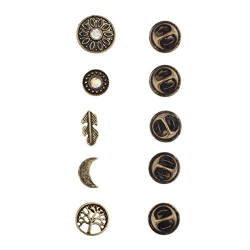 LUX Accessories Anstecker-Set, Boho-Design, brüniertes Gold, 5 Stück (Toggle Tiffany Herz Halskette)
