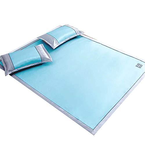 WENZHE Matratzen Sommermatte Sommer Sommerschlafmatte Schlafunterlage Matratze EIS Seide Gewebte Waschbar,7 Größen, 2 Farben, Mit Kissenbezug Strohmatte Teppiche (Farbe : Blau, größe : 90X190cm)