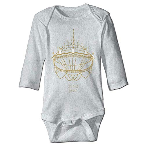 MSGDF Unisex Infant Bodysuits Chandelier - Be Our Guest Girls Babysuit Long Sleeve Jumpsuit Sunsuit Outfit Ash