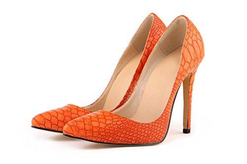 HooH Femmes Sexy Léopard Pointu Stiletto Escarpins Orange