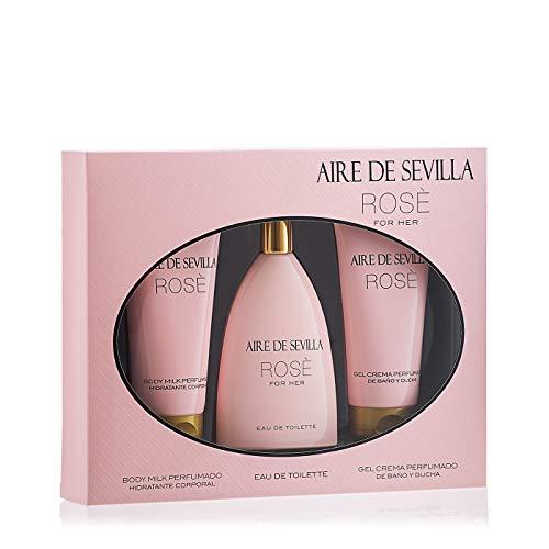 Aire de Sevilla Set de Belleza Edición Rosè - Crema Hidratante Corporal, Eau de Toilette, Gel Exfoliante