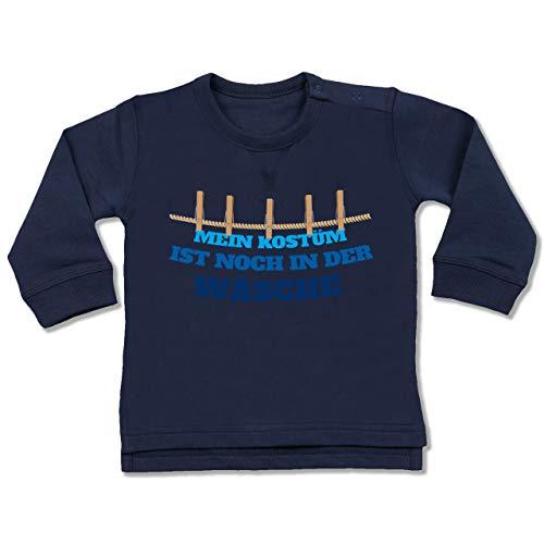 Shirtracer Karneval und Fasching Baby - Mein Kostüm ist noch in der Wäsche Wäscheleine blau - 6-12 Monate - Navy Blau - BZ31 - Baby Pullover