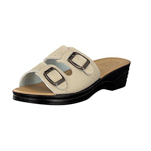 Brandsseller Damen Pantolette Sandale mit Zwei Schnallen und Einem Wörishofer Fussbett - Farbe: Schwarz - Größe: 40 ZFRW0nQiMF