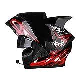 OUTO Helm Helm Motorrad Outdoor Riding Bluetooth Headset Schwarz Anti-Fog-Spiegel Full Face Helm Schwarz Red Devil Corner (Farbe : Black red Devil Microphone, größe : M)