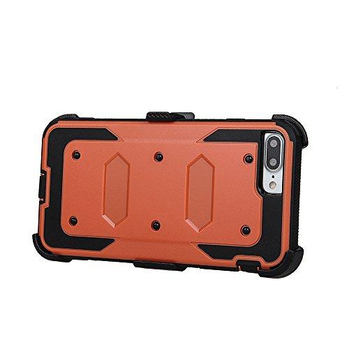 """xhorizon FM8 Eingebaut Schützender Stoßdämpfer Heavy Duty Schutz Schockreduzierung/Stoßstang Case für Apple iPhone 7 Plus [5.5""""] (Cyan) Orange Mit einem 9H gehärtetem Glasfilm"""