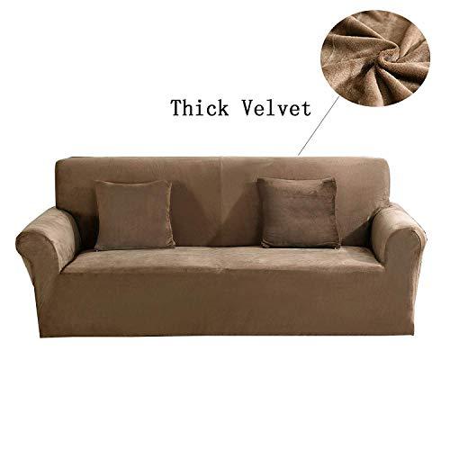 Copridivano Spesso per sofà a 1/2/3/4 posti, colorato, in Tessuto Elasticizzato Vellutato per Un'aderenza Perfetta e Facile Size 3 Seater(190-230cm) (Luce Marrone)