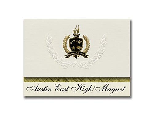 Signature-Announcements Austin East High/Magnet (Knoxville, TN) Abschlussankündigungen, Präsidential-Stil, Grundpaket mit 25 goldfarbenen und schwarzen metallischen Folienversiegelungen