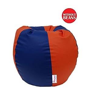 Homez Decor XXXL Orange and Blue Bean Bag Cover (Without Filler)