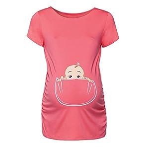 Happy-Mama-Para-Mujer-Camiseta-premam-T-Shirt-estampado-beb-en-bolsillo-501p-Coral-EU-4446-2XL
