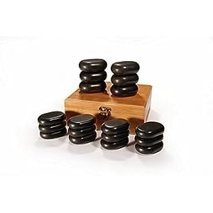 Master Massage Hot Stone Set Massagesteine Massage stones, 18 Stück. Schwarz Lava vocano Basalt, 18-teilig, mit einer schönen Bambuskiste