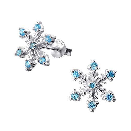 Kleine elegante Sterlingsilber Schneeflocken-Ohrringe mit eingesetzten blauen Zirkonia-Steinen (Flake Snow Elsa)