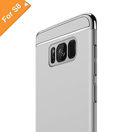 RANVOO Kompatibel mit Samsung Galaxy S8 Hülle, 3-Teilige Styliche Extra Dünne Harte Galaxy S8 Case Schale Anti-Fingerabdruck Bumper Case Handyhülle Schutzhülle, Silber