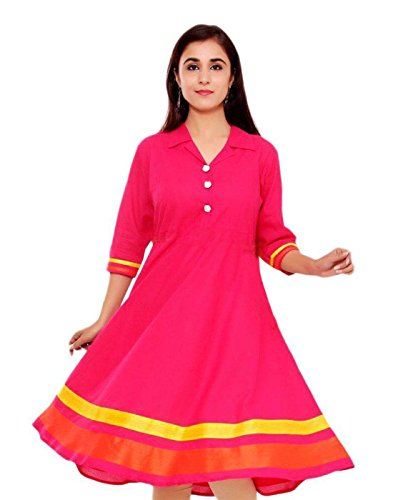 Surat Tex Magenta Color Pure Cotton Printed Stitched Anarkali Kurti-H903KIK2AOXL