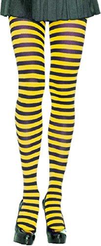 Leg Avenue Strumpfhose Schwarz Gelb quer geringelt Einheitsgröße 60 DEN Damen Karneval Fasching