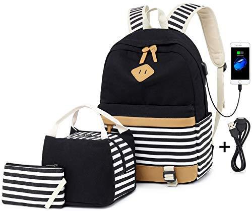 """Netchain 3 Packs Teenager Mädchen Canvas Stripe Rucksack passt 15,6\"""" Laptop mit USB Lade Port Handtasche Tasche und Lunch Bag Schwarz"""