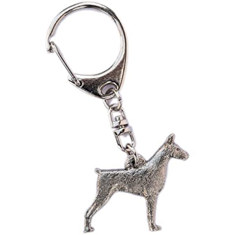 Dobermann (con le orecchie tagliate) Made in UK, Collezione Portachiavi Artistici Stile Cani