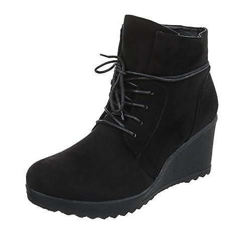 Keilstiefeletten Damen-Schuhe Plateau Keilabsatz/ Wedge Keilabsatz Schnürsenkel Ital-Design Stiefeletten Schwarz, Gr 38, (Keilabsatz Schwarz)
