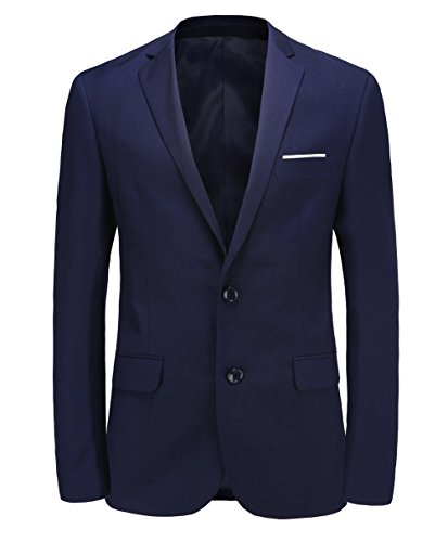 Herren Blazer Two Button Slim Fit Anzug Jacke Side Vent Sport Mantel 10 Farben DE 52(Asian 3XL)NAVY (Button Anzug Navy)