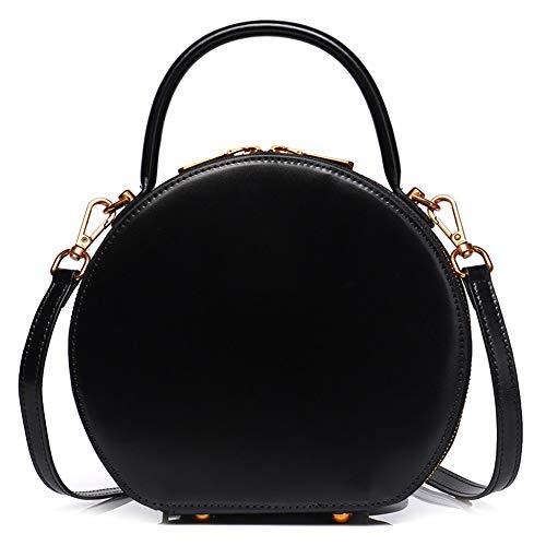 Women's Circle Messenger Sling Taschen Aus Echtem Leder Schulter Handtaschen Vintage Totes Satchel Handtasche Runde Top-Griff Tasche,Black-22 * 8 * ()
