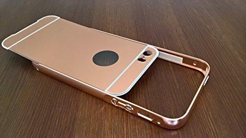 CELL SHIELD Mirror Case Spiegelhülle für iPhone 5/5s 6/6s 7/7s Schutzhülle Hülle Cover Case Aluminiumrahmen verspiegelt - Stark reduziert! Produkteinführungsrabatt! Rose Gold