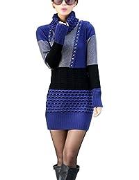 TOOGOO(R)Damen Strickpullover Blusen Oberseiten Rollkragenpullover Langarm  Shirt blau+grau 29e52803f1