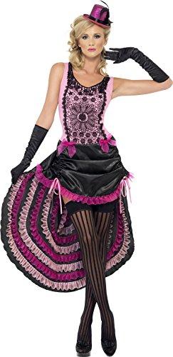 Smiffys, Damen Burlesque Schönheit Kostüm, Kleid mit Tunnelzugleinen-Rock und Schleifen-Verzierung, Größe: S, (Kostüme Damen Klassische Schönheit)