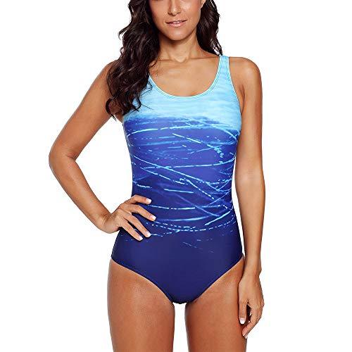 Lovinni Damen-Badeanzug, sportlicher Farbverlauf mit Crisscross-Druck, einteilig, gepolstert, Badeanzug - Blau - X-Large