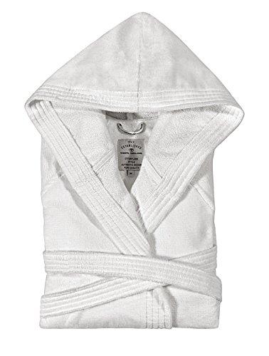 Tom Tailor 110401/901/702 Basic Velours Bademantel, mit Kapuze, Gr. M, silber White