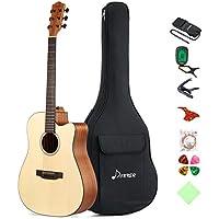Donner DAG-1C Guitarra Acústica con Cutaway 41 Pulgadas Cuerpo de Caoba y Pícea Color de Madera Natural con Set de Accesorios