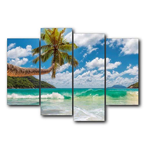 Guokee Abstrakte Tropische Wandkunst Palme Blauer Himmel außerhalb Poster und Drucke Leinwand Malerei Wohnzimmer Schlafzimmer Home Decor - 30x60x2 30x80x2 (Außerhalb Palmen)