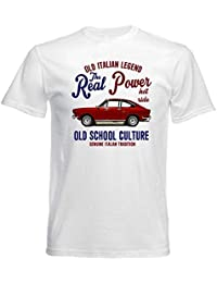 Fiat 124 Coupe Real Power White Graphic tee Shirt Mens Round Neck Short Sleeves Cotton T