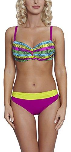Feba Figurformender Damen Bikini S2L2N1 (Muster-01DK, Cup 75 D/Unterteil 38) (Size Frauen Sexy Plus Höschen Für)