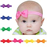 #10: Skudgear Pack of 8 New Born Baby Headbands Hair Bands Bows (8 Pieces Pack)