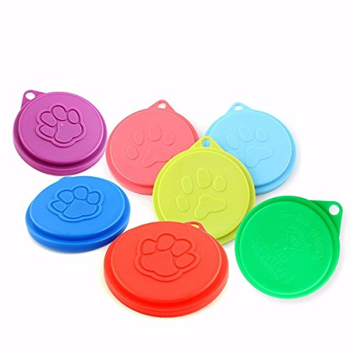 anano 6 Pack Pet Cat Dog Food Container Cover Deckel PET Dose Kunststoff wiederverwendbar Cap von zufällige Farbe (Luftdicht Food Cat Container)