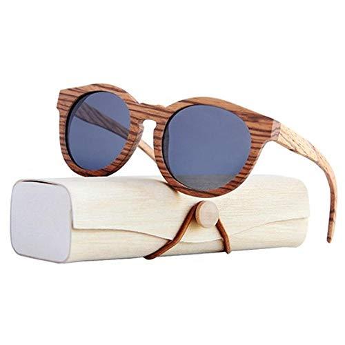 LiyuAI Sonnenbrillen für Damen Polarisierte, Holz gerahmte Gläser, gesprenkelter Holzrunkrahmen -
