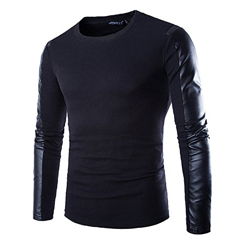 Lanbaosi Herren Frühling Pullover Pullover Shirt Langarm PU Leder Trim T-Shirt (Leder Trim Pullover)