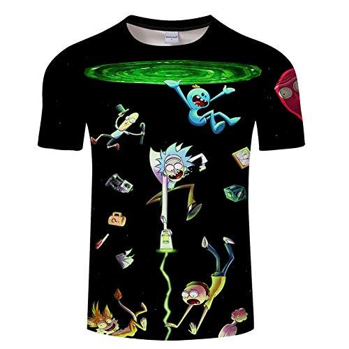 Ywfzzxs Camiseta Tops 3D Camisetas De Moda Undershirt Manga Corta Unisex Novedad Disfraz HD Anime Impresión Rick Y Morty