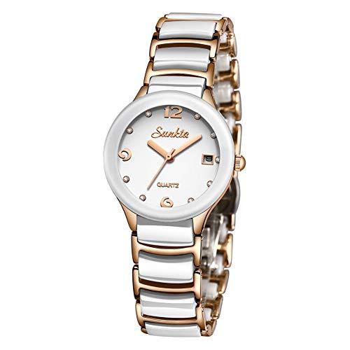 Damen Mode Elegant Wasserdicht Analog Quarz Uhr SUNKTA Edelstahl mit Diamant Schwarz und Rose Gold Keramik Armband Damen Armbanduhr