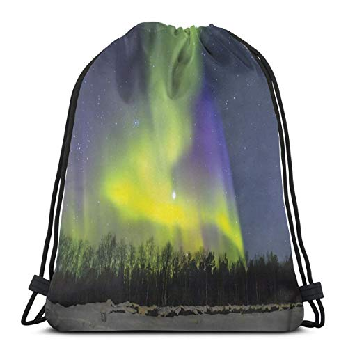 Juziwen Printed Drawstring Backpacks Bags,Aurora Borealis Over The Snow Covered Forest In The Northwest America Alaskan Winter,Adjustable String Closure