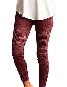 Mujeres Moda Skinny Leggings Elástico Pantalones Casual Colores Lisos Lápiz Pantalones de Largos
