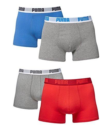 Puma Herren Boxer Basic Unterhosen 4er Pack in verschiedenen Farben 521015001 (blau-grau melange(417)/red-grey(072), XL)